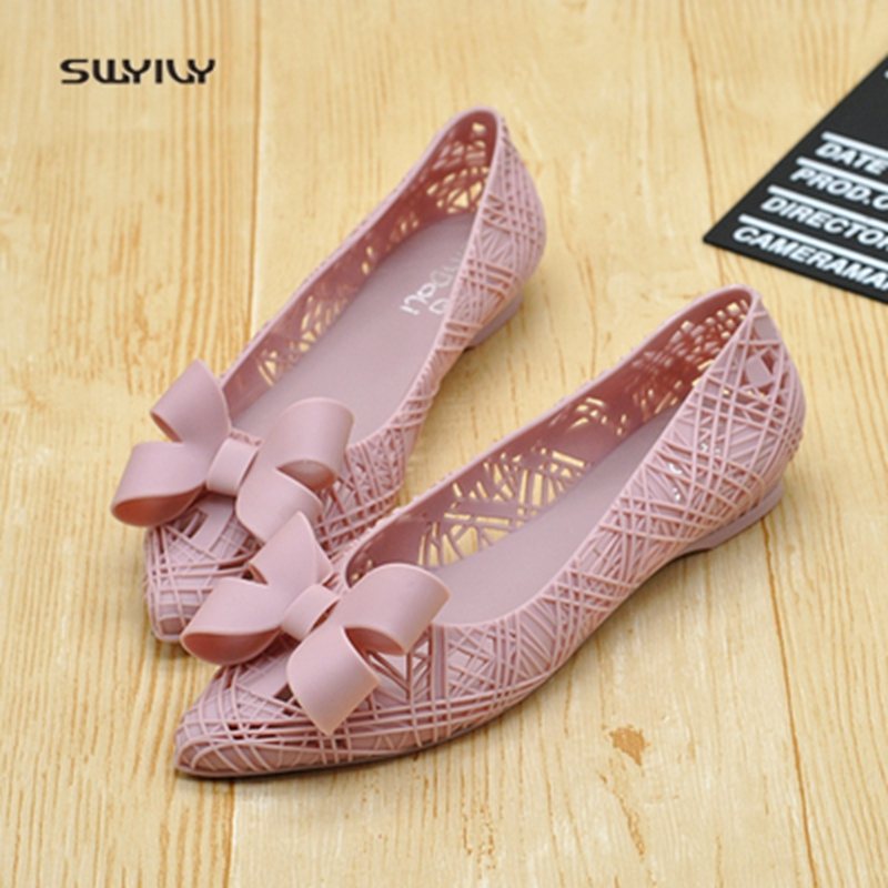 11f06311648a SWYIVY Jelly Shoes Bow Sandals Shoes Woman 2018 Hollow Breathabl Plastic  Female Casual Summer Shoes Flat Comfortable Jelly Shoes