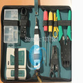 Ferramenta de Instalador de rede inacreditável! 10 pcs RJ45 RJ11 CAT5 LAN Network Tool Kit Cable Tester Crimper Stripper Set web maleta de ferramentas