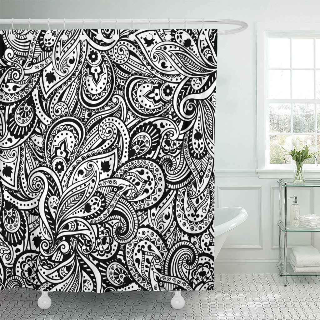 Shower Curtain With Hooks Vintage Paisley Pattern Flower