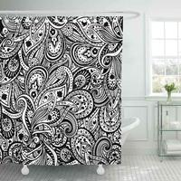 Shower Curtain with Hooks Vintage Paisley Pattern Flower Mexican Petal Wedding Mandala Floral Abstract Decorative Bathroom