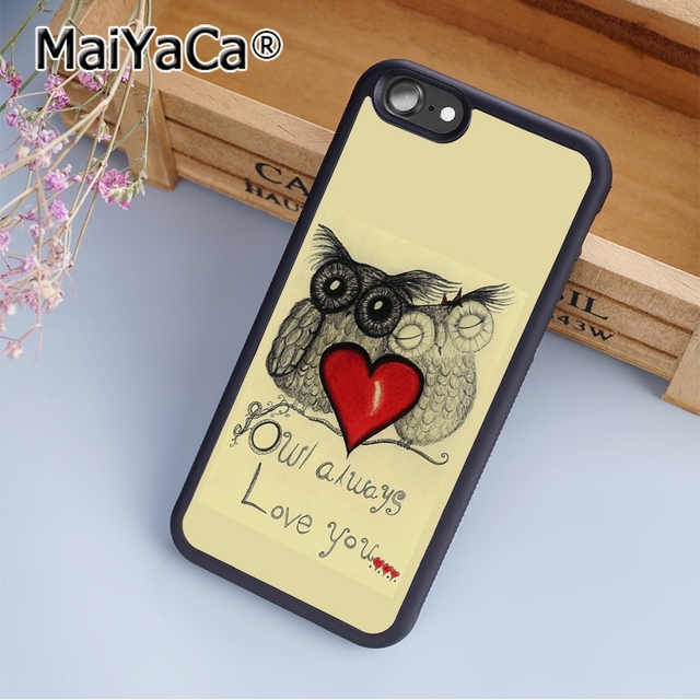 pretty nice 028c1 6ff37 US $4.59 8% OFF|MaiYaCa Retail Cute Owl Always Love You Print Soft TPU  Mobile Phone Case Funda For iPhone 5 5S SE Back Cover Skin Shell-in Fitted  ...