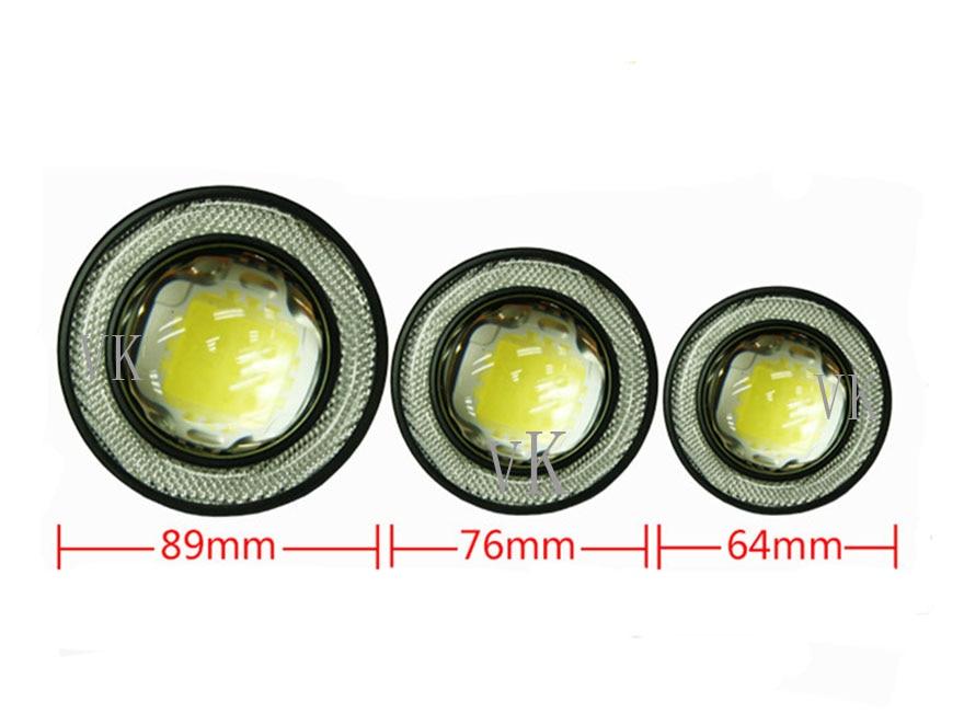 2pcs/lot Universal 2.5/3/3.5 inch Led COB Fog Lamp Car Auto Fog Angel eyes light with Lens DC12V-24V any car can use