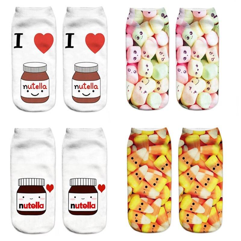 1 Paar Frauen 3d Druck Lustige Ankle Socken Harajuku Nette Lebensmittel Obst Süßigkeiten Gedruckt Unisex Casual Low Cut Hausschuhe Boot Socken