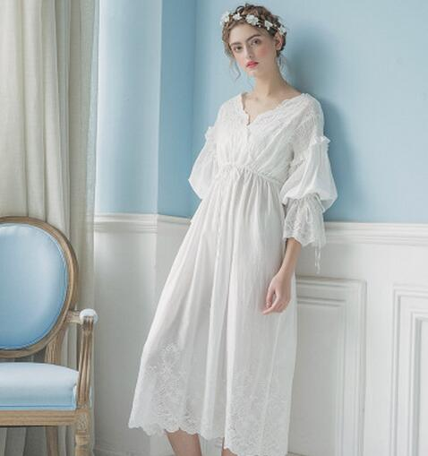 New Arrivals Lace Nightgowns Sleepshirts Vintage Home Dress Elegant  Sleepwear Women Sleep   Lounge 10be25310