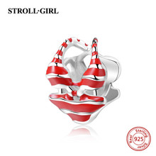 2018 new arrival Bikini charms with red enamel 925 silver beads fit original Pandora bracelet jewelry making for women gift 2018 new 925 sterling silver red enamel bikini charms beads fit authentic pandora bracelet charms beads jewelry for women gifts