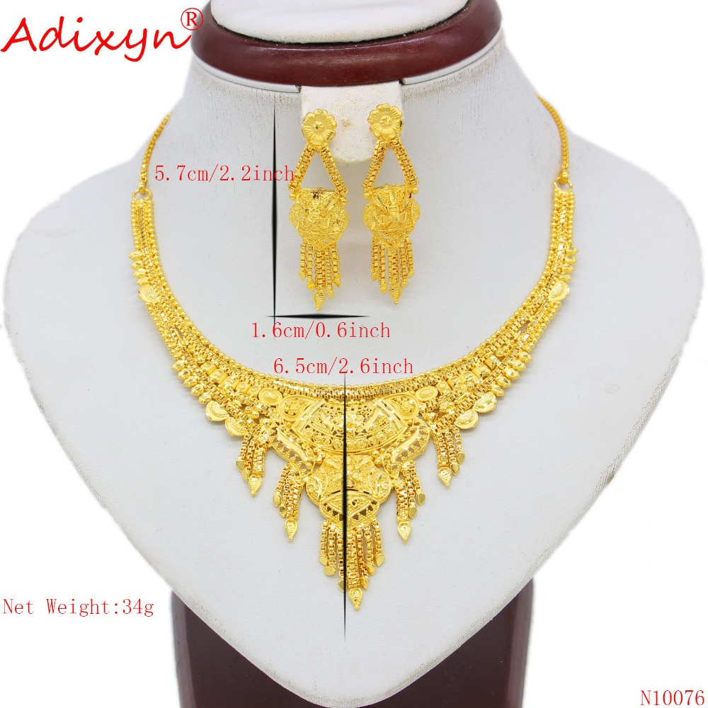 Adixyn Dubai Necklace/Earrings Women/Girls Jewelry set Gold Color/Copper African/Ethiopian Engagement Gifts N10076