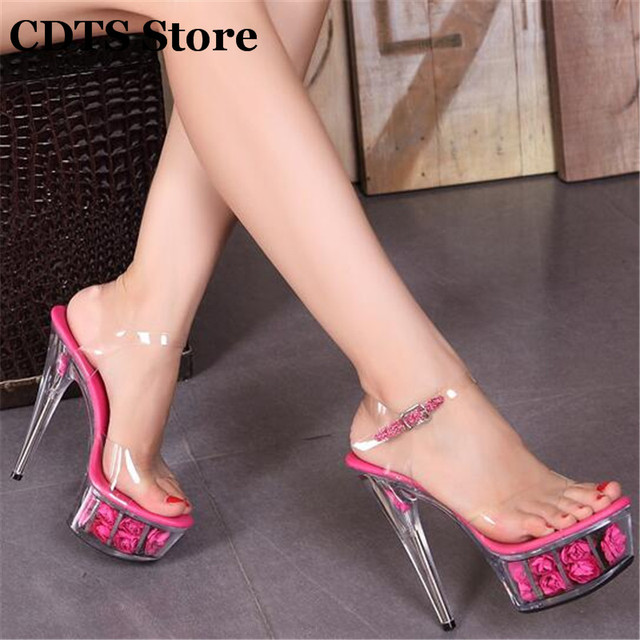 89fb4fe834a CDTS 34-44 Sexy 15cm thin high heels transparent rose flowers platform  female crystal wedding pumps princess shoes woman sandals