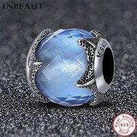 INBEAUT Thực 100% 925 Sterling Silver Blue Crystal Starfish Charm Phụ Nữ Antique S925 Đại Dương Ánh Sáng Beads fit Pandora Bracelet