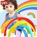 QWZ Colorido De Madera Bloques de Construcción de Juguetes de Bloques De Madera Del Arco Iris Círculo set color del bebé tipo play juego juguetes para niños regalos con caja