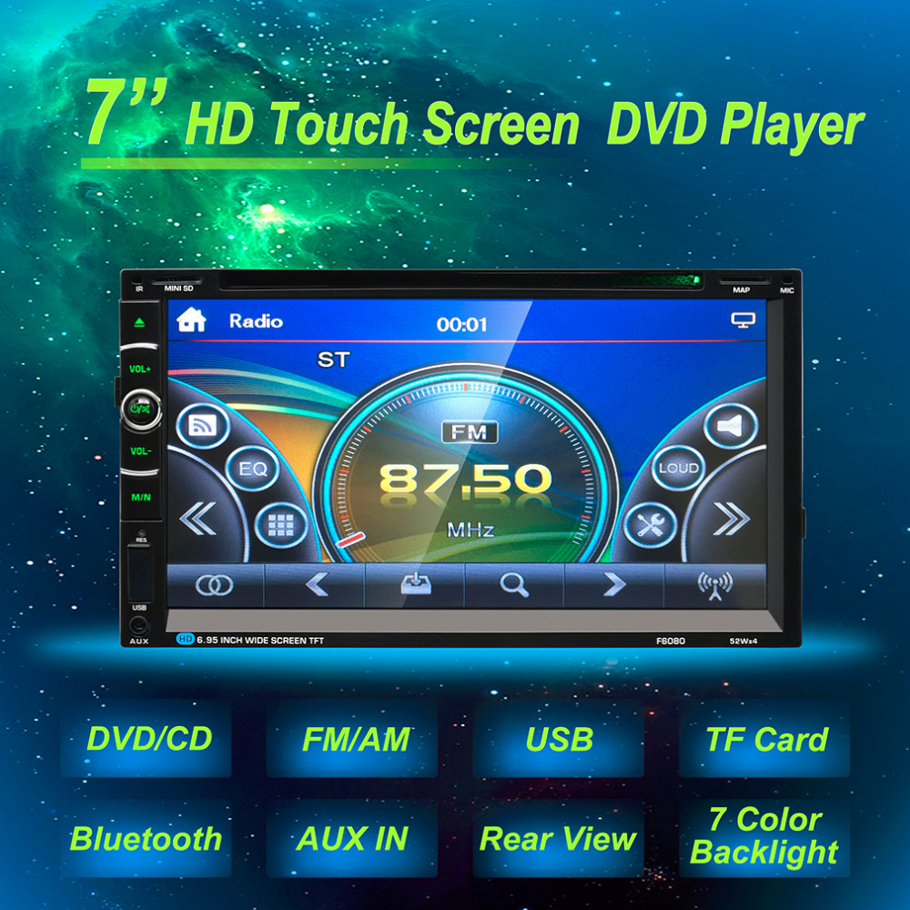 7in Double 2Din 800 * 480 Car Radio Universal Without GPS DVD Car Audio Car Stereo Auto USB Bluetooth Radio FM 45W*4 free shipping car refitting dvd frame dvd panel dash kit fascia radio frame audio frame for 2012 kia k3 2din chinese ca1016