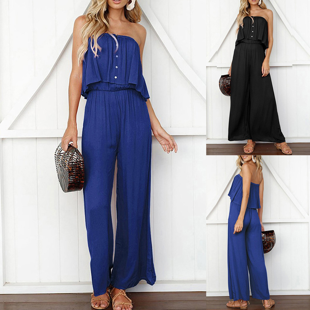 Womens Summer Lady Solid Sleeveless Long Trouser Playsuits Jumpsuit Rompers For Women Sport high quality W502