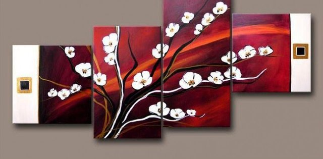 Art handmade abstract oil painting on canvas modern 100% handmade original directly from artist  plum snow white flowers YP1283