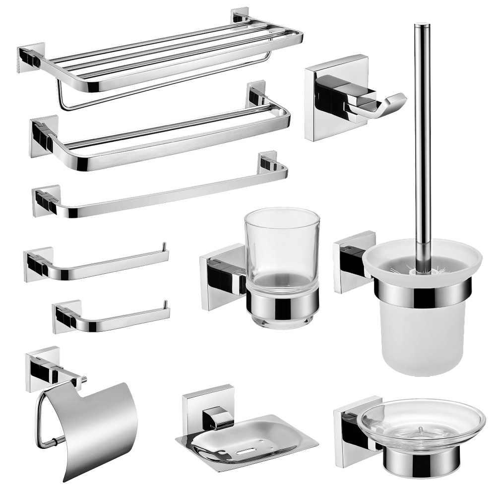 SUS 304 juego de accesorios de baño de acero inoxidable, espejo, soporte de papel pulido, soporte para cepillo de dientes, barra de toalla, accesorios de baño