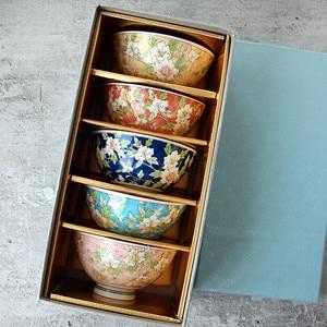 Японская импортная и ветряная керамика, миска для риса, цветок камелии, чайная миска для каши, подарочная коробка