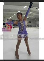 Дети на фигурных коньках платье пользовательские фигурное катание платья для конкурса фиолетовый одежду, чтобы рисунок ребенка Бесплатная
