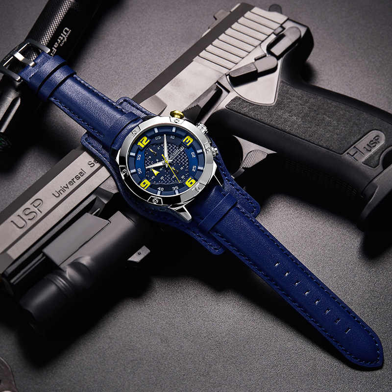 MEGIR גדול Mens יוקרה מותג הכרונוגרף קוורץ שעון גברים עם עור Bracer Relogio Masculino Reloj Hombre Dropship