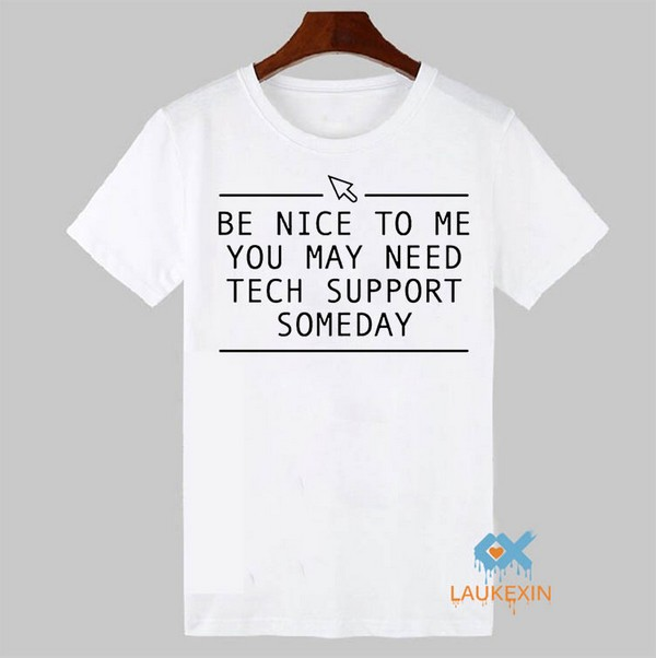 Funny Tech Support Printed Mens T Shirt Novelty Gift Tee Computer Geek Smart Harajuku T-shirt Summer Style XS-XXL image