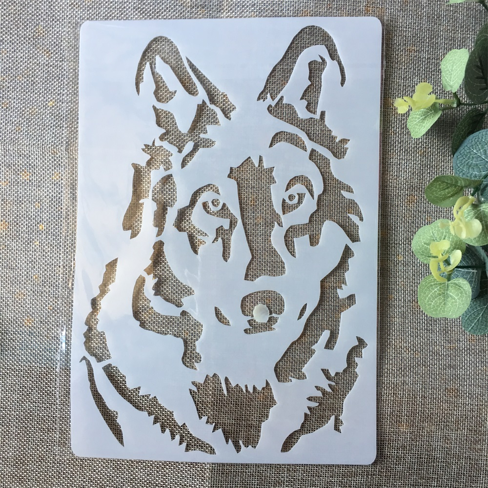 A4 Wolf DIY Layering Stencils Painting Scrapbook Coloring Embossing Album Decorative Paper Card Template