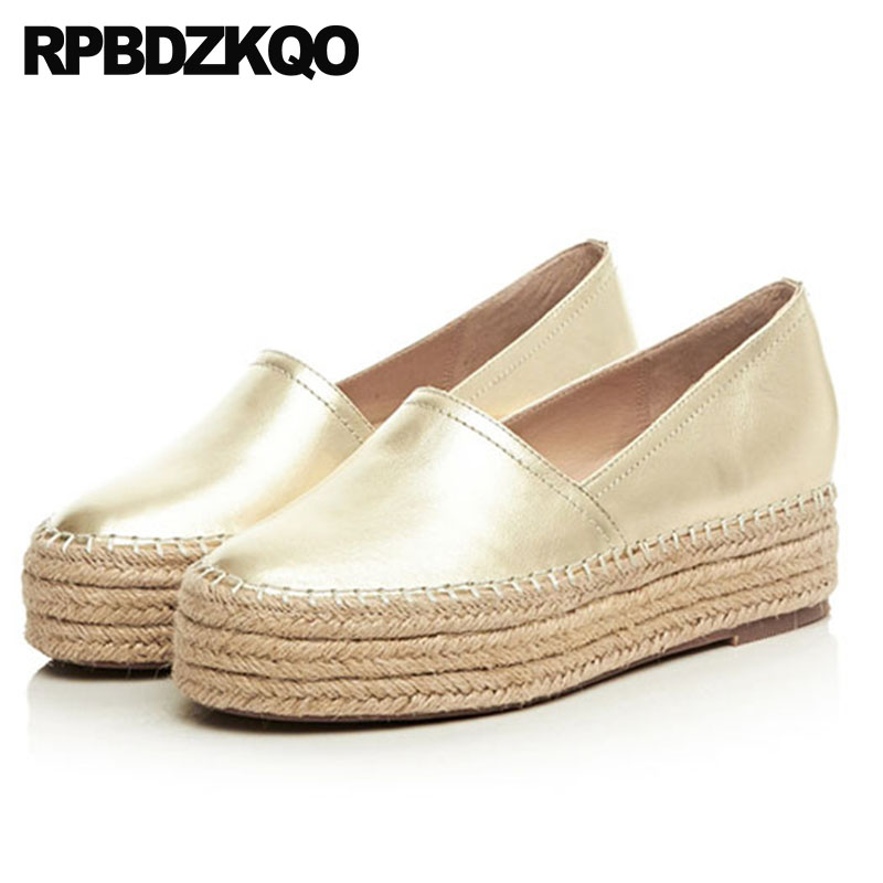 Women Hemp Genuine Leather Luxury Creepers Platform Shoes Metallic Elevator Gold Thick Sole Fisherman Espadrilles Flats Muffin