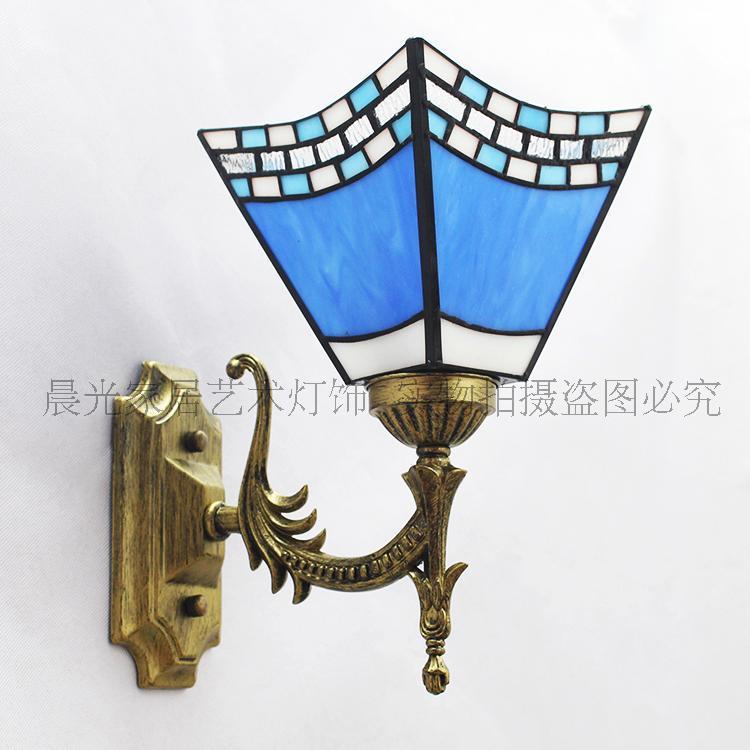 Mediterranean Color Rustic Single Head Wall Lamp Wrought Iron Bathroom Mirror Bedside Aisle Headlight Glass Art