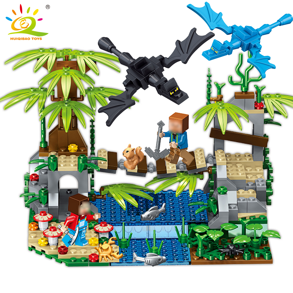 Minecrafted Tree Bridge Dragon Building Blocks Educational Toy For Children Compatible Legoed figures Steve Alex Weapon Bricks ...