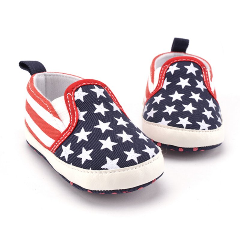 Toddler White Star Print Crib Shoes Kids Anti-Slip Shoes Soft Sole Prewalker ...