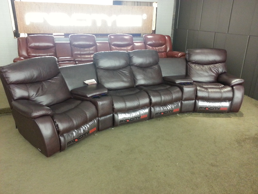 Living Room Sofa Recliner Sofa, Cow Genuine Leather Recliner Sofa Real Leather Recliner Sofa 4 Seater With Cupboard Storage Box