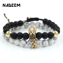 CZ Zirconia King Crown Charms Couple Bracelets Sets Black & White Stone Beads Braiding Elastic Bracelet Set Women Men jewelry