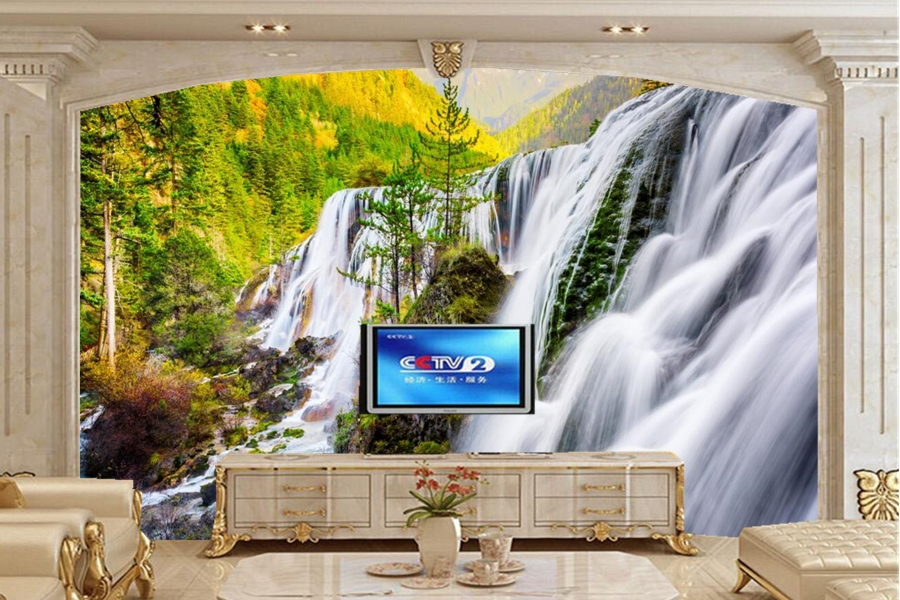 Fall forest waterfalls Natural wallpaper papel de parede,hotel restaurant living room tv sofa wall bedroom 3d wallpaper mural custom 3d mountains sunrises and sunsets forest trees rays of light nature papel de parede living room tv wall bedroom wallpaper