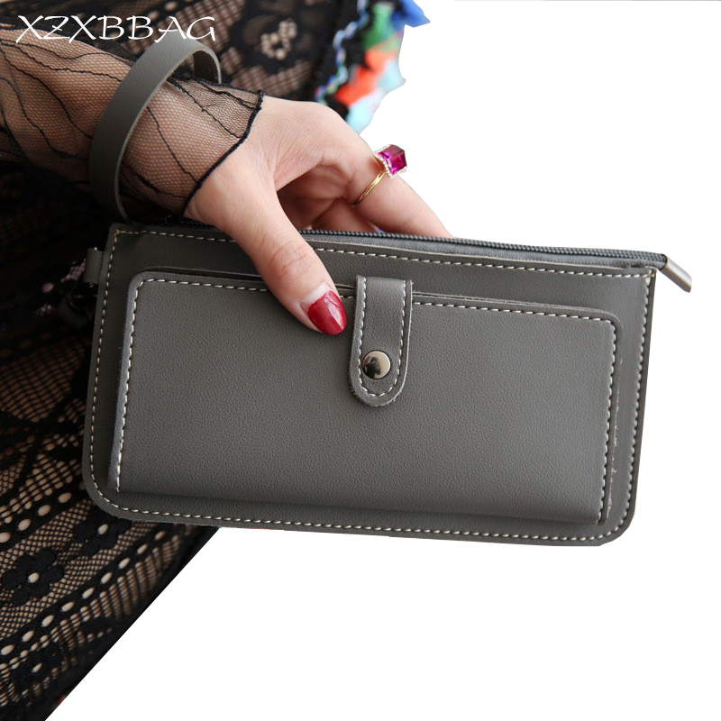 XZXBBAG PU Leather Women Wallet Female Fashion Coin Purse With Card Holder Ladies Girl Hasp Zipper Long Wallet Clutch Wrist Bag dollar price women cute cat small wallet zipper wallet brand designed pu leather women coin purse female wallet card holder