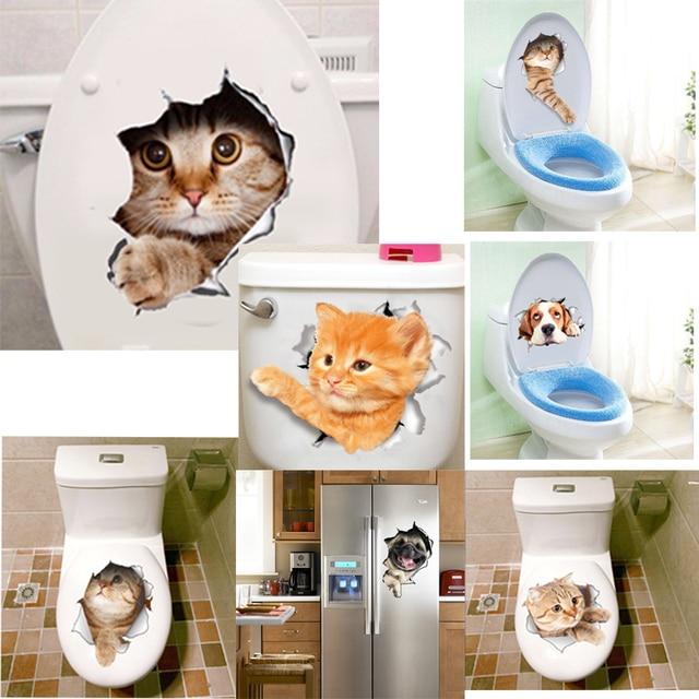 3d Vives Chats Chiens Sticker Mural Toilette Porte Réfrigérateur