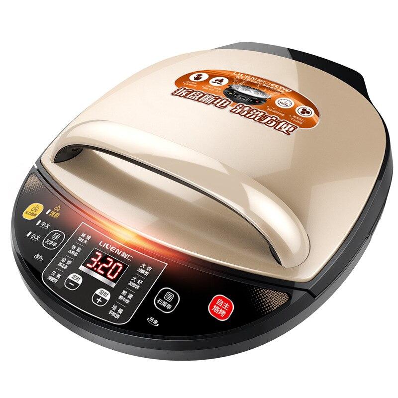 Double disque électrique crêpière poêle à crêpes Pizza BBQ Machine de cuisson multifonction poêle à huile chauffage plaque de cuisson antiadhésive