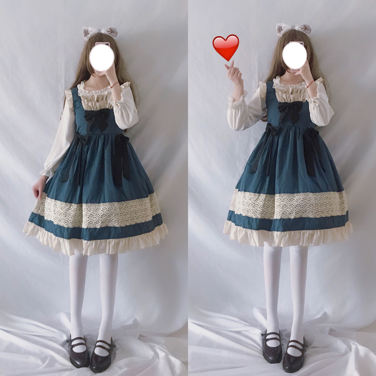 Lolita Dress Sweet Cute Japanese Kawaii Girls Princess Maid Vintage Gothic Baby Doll Lace Navy Blue Women Skirt Bow Ruffles