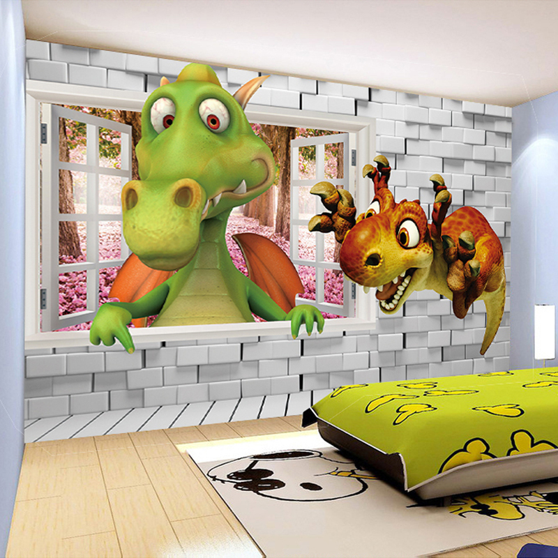 Custom photo wallpaper 3d cartoon cute dinosaur brick wall for Dinosaur pictures for kids room