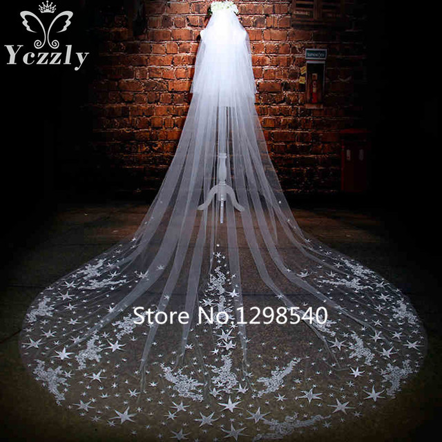 Luxury Long Lace Edge Cathedral Wedding Veil With Comb White/Iovry Stars Flowers Bridal Veils Wedding Accessories For Bride WB67
