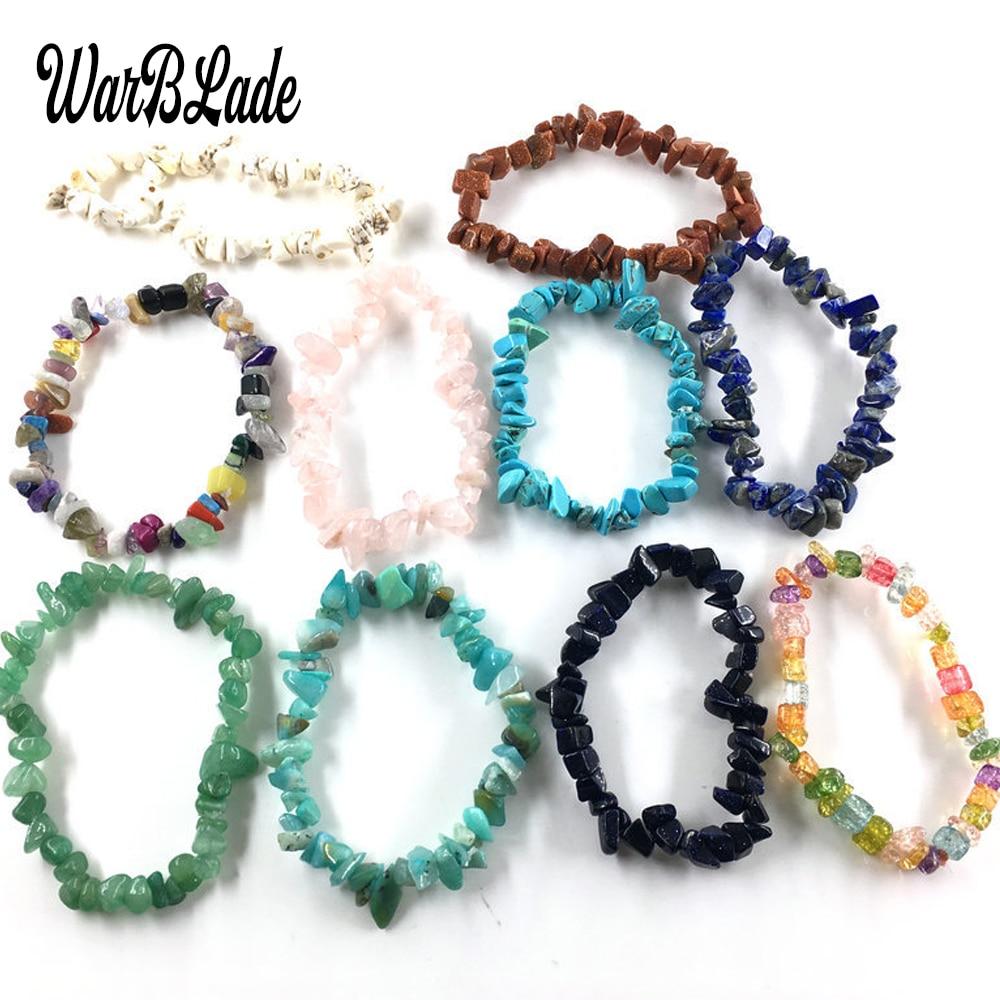 35 Color Natural Gem Stone Bracelet Irregular Crystal Stretch Chip beads Nuggets Bracelets