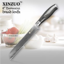 XINUZO 2016 8″ inch bread knife high quality cake knife 73 layers Damascus kitchen knife with Color wood handle free shipping