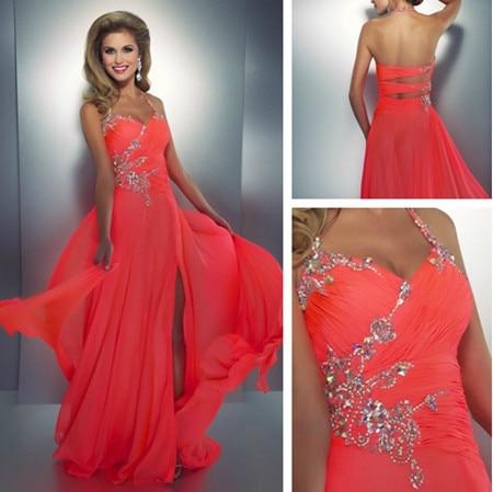 Elegant Haler Chiffon Vestido Dress Peach Party Dresses Custom Made ...