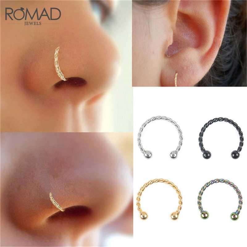 ROMAD אופנה C נירוסטה אוזן האף שפתיים טבעת הרבעה טוויסט יוניסקס גברים נשים שפתיים האף הרבעה פירסינג סליל גוף תכשיטי R4