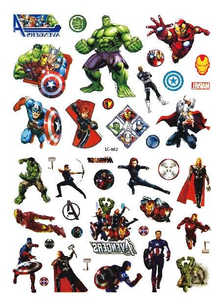 Rocooart Hulk Thor Wonder Woman Waterproof Temporary Tattoo Stickers For Kids Cartoon Super Hero Tatuagme Face Fake Tattoo Taty