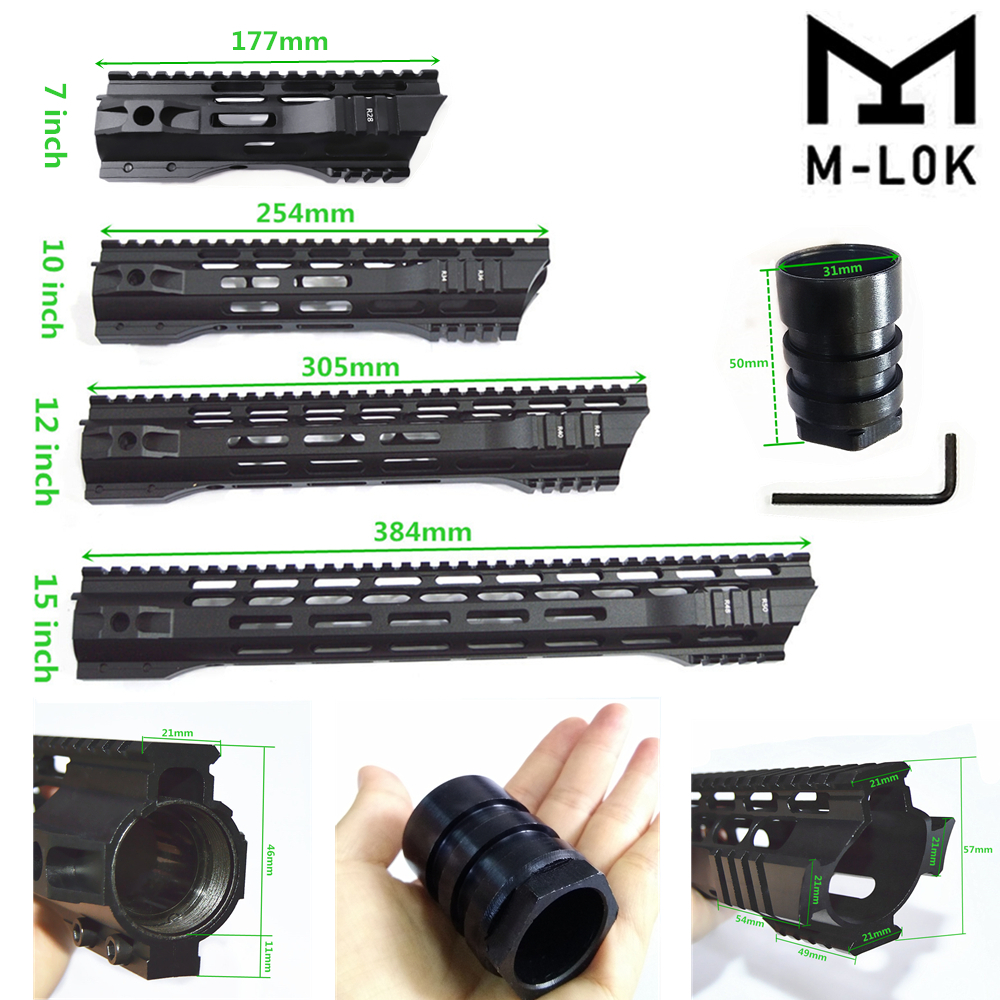 "FIRECLUB 7"" 10"" 12"" 15"" inch MLOK Handguard Free Float Super Slim ar 15 Handguard Quad Rail for M4 M16 with Steel Barrel Nut(China)"