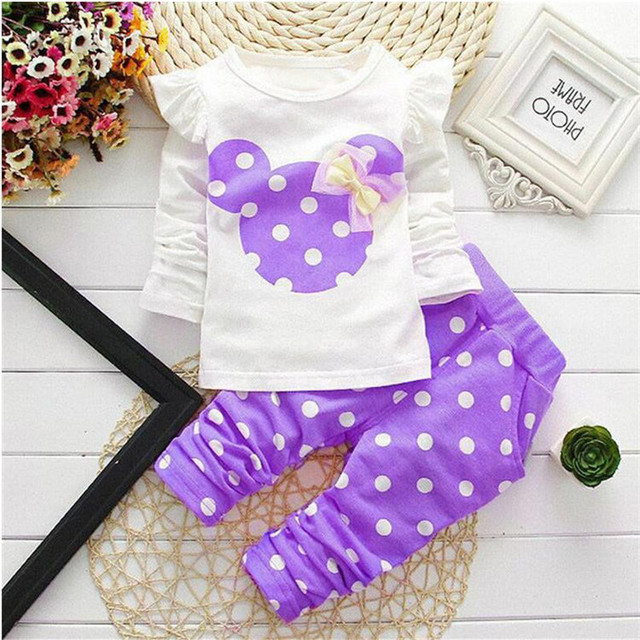 LILIGIRL Baby Girls Sport Clothes Sets 2019 Newborn Cotton Mickey T-Shirt+Polka Dot Pants Suit for Kids Tops Trousers Clothing 3