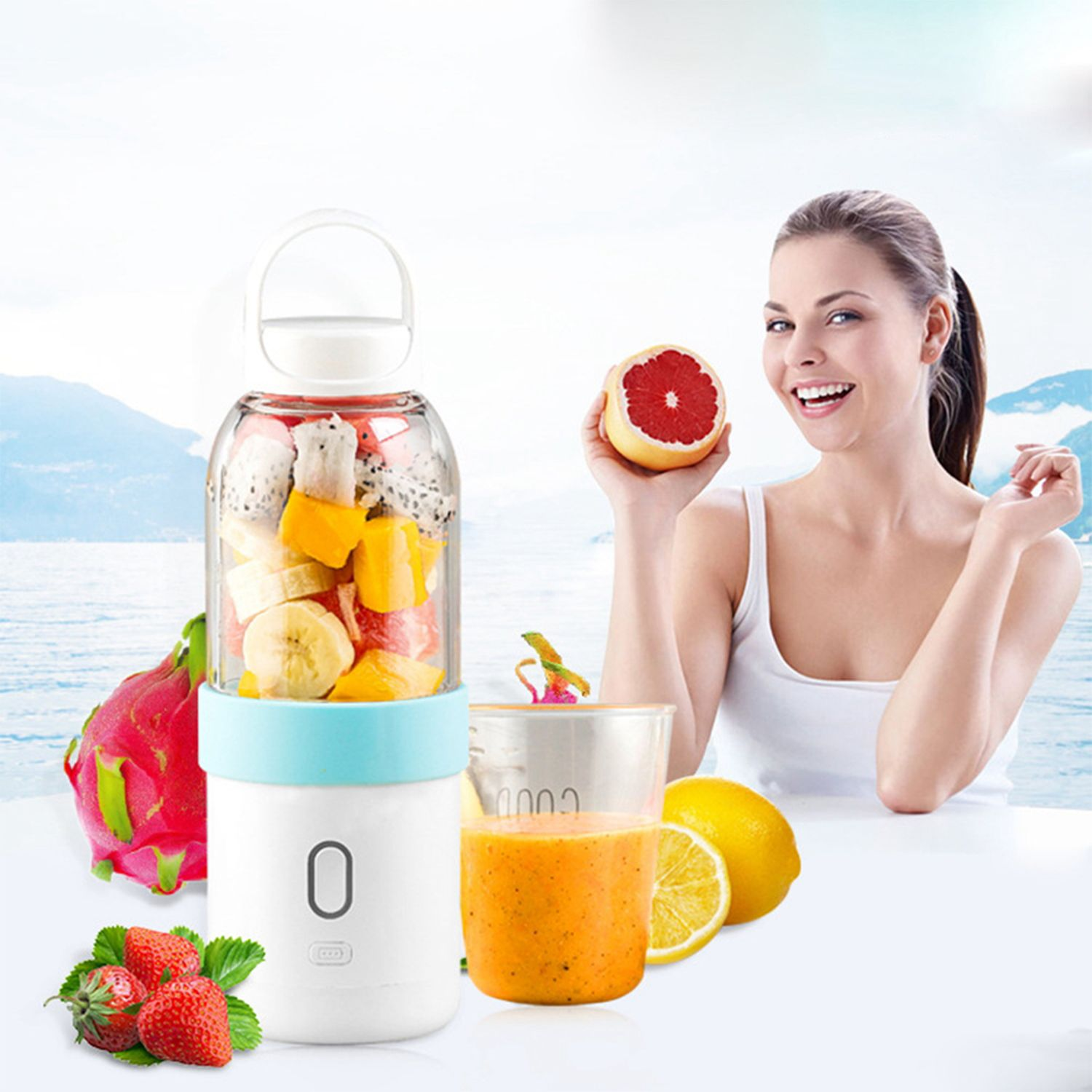 550ml Portable Blender USB Juicer Cup Fruit Vegetable Mixer Smoothie Milk Shake Hand Personal Small Juice