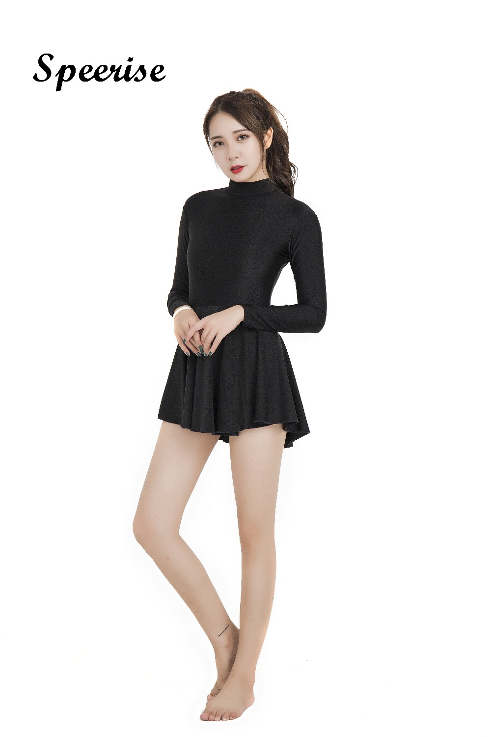Speerise Womens Turtleneck Long Sleeve Skirted Leotard Ballet Dance Gymnastic Dress Scoop Neck Gymnastics Dresses