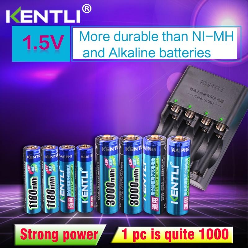 KENTLI 8pcs 1.5v Aa Aaa Batteries Rechargeable Li-ion Li-polymer Lithium Battery + 4 Slots AA AAA Lithium Li-ion Smart Charger