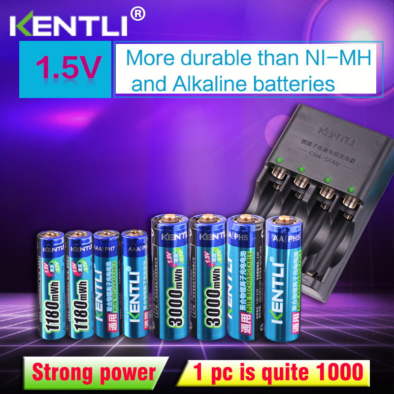 KENTLI 8 pièces 1.5 v aa piles aaa Li-ion Rechargeable li-polymère batterie Au Lithium + 4 slots AA AAA lithium li-ion Chargeur Intelligent