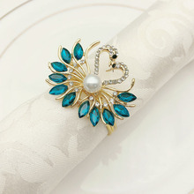 6PCS Hotel Western napkin buckle metal peacock ring alloy diamond