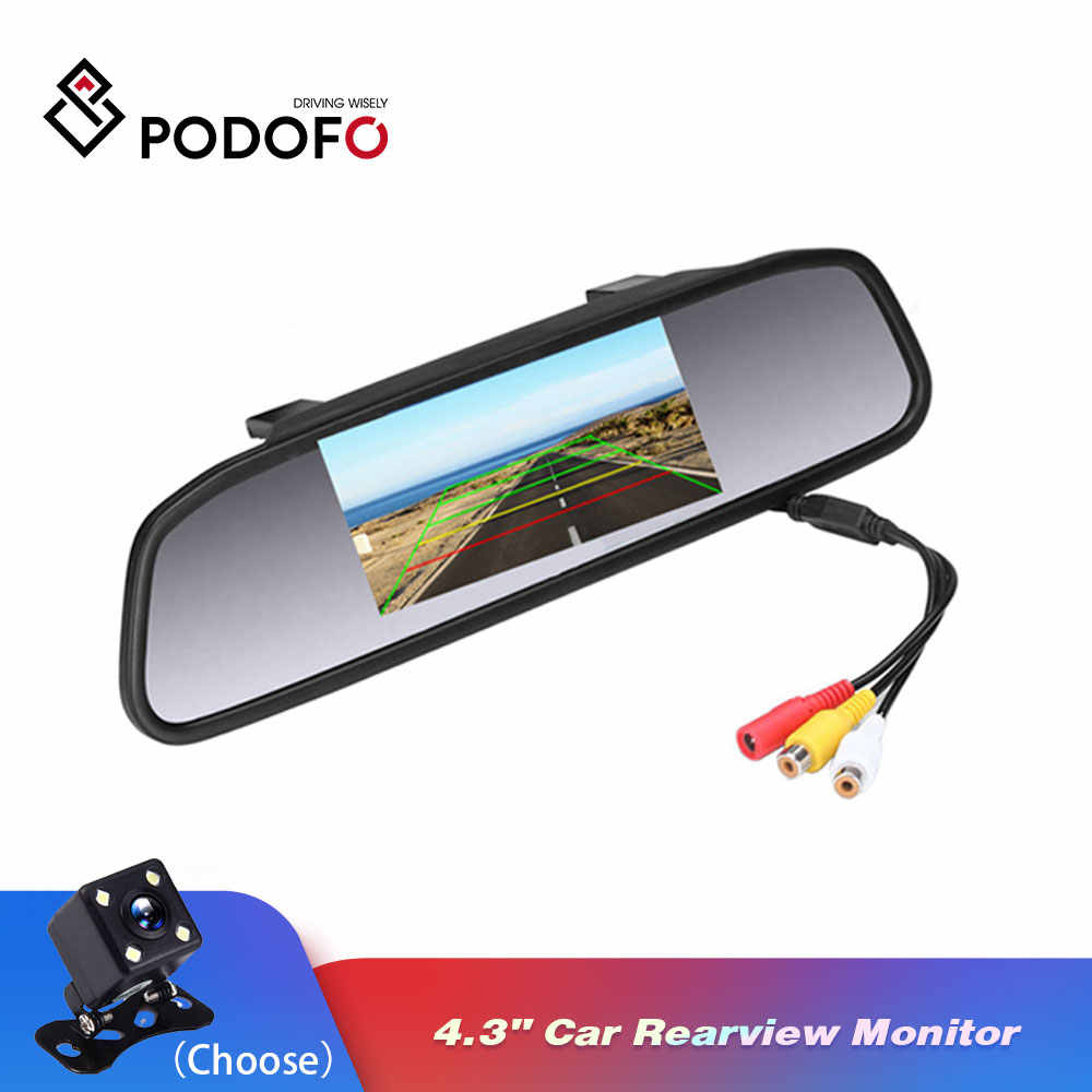 "Podofo Car HD Video Auto Parking Monitor 4 LED Night Vision CCD Car Rear View Camera 4.3"" TFT LCD Car Rearview Mirror Monitor"