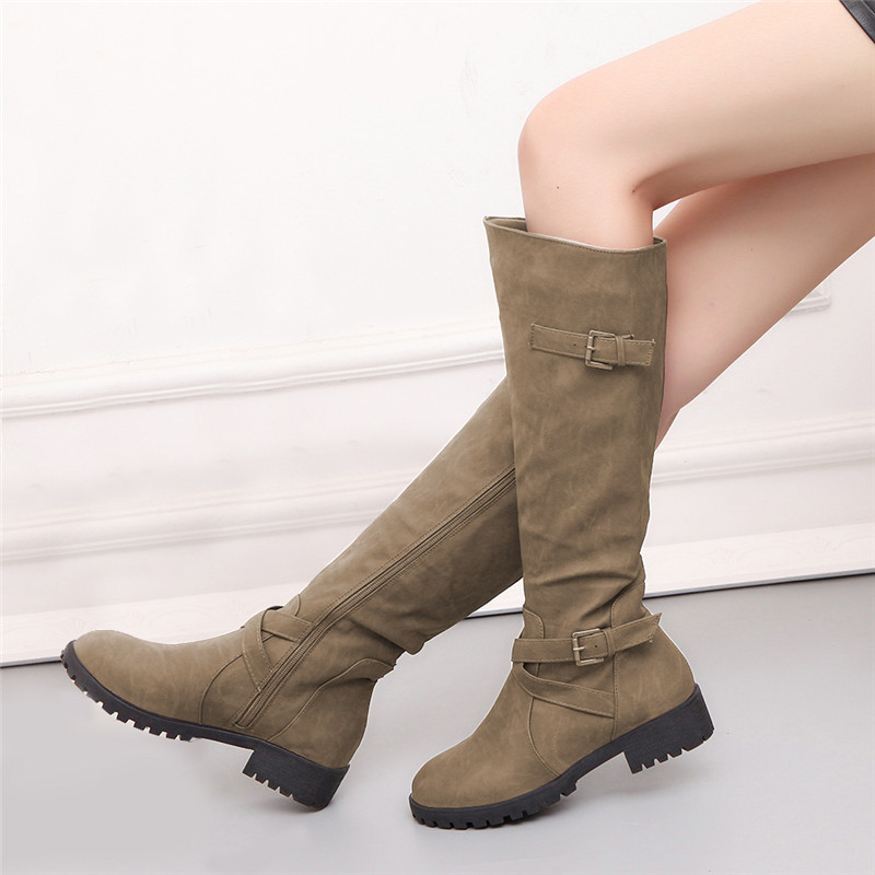 COOTELILI Casual-Shoes Leather Boots Botas Women Flats Female Buckle