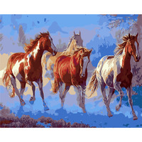 Horses Oil Paint Painting By Numbers Diy Picture Drawing Coloring On Canvas Painting By Hand Wall